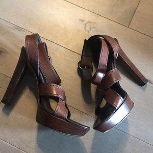 Yves Saint Laurent 37.5 Brown Strap Sandals
